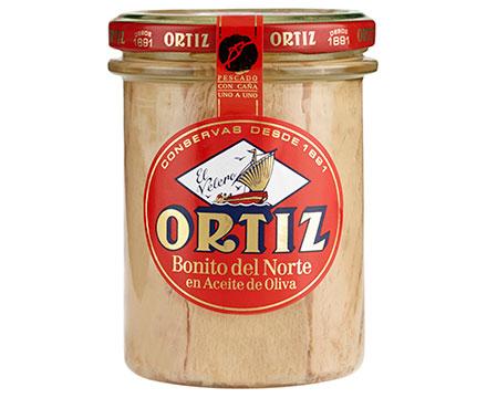 Concervas Ortiz White Tuna In Olive oil Glass Jar 220g