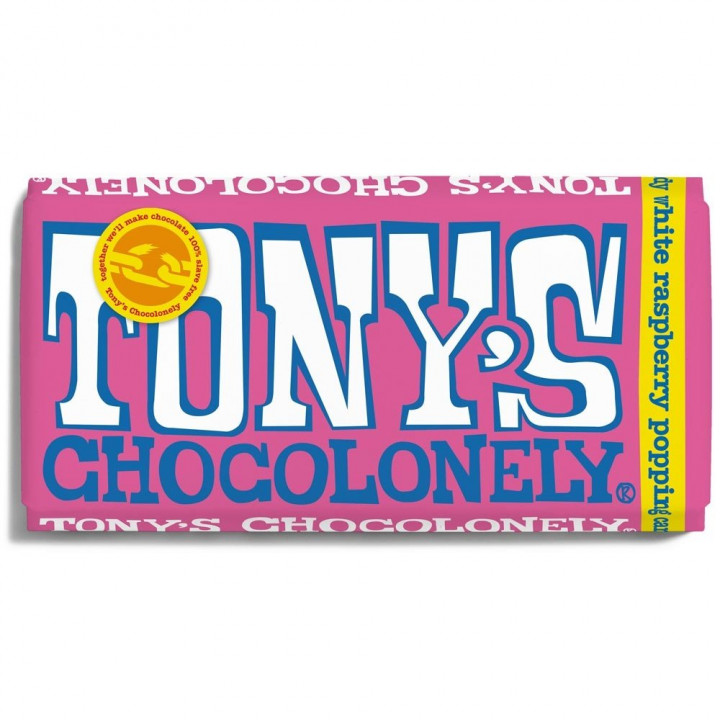 TONY'S CHOCOLONELY WHITE MILK RASBERRY AND POPPING CANDY CHOCOLATE 180GR