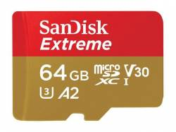 SANDISK Extreme microSDXC 64GB + SD Adapter + Rescue Pro Deluxe 160MB/s A2 C10 V