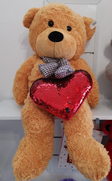 Huge Teddy Bear with Red Heart