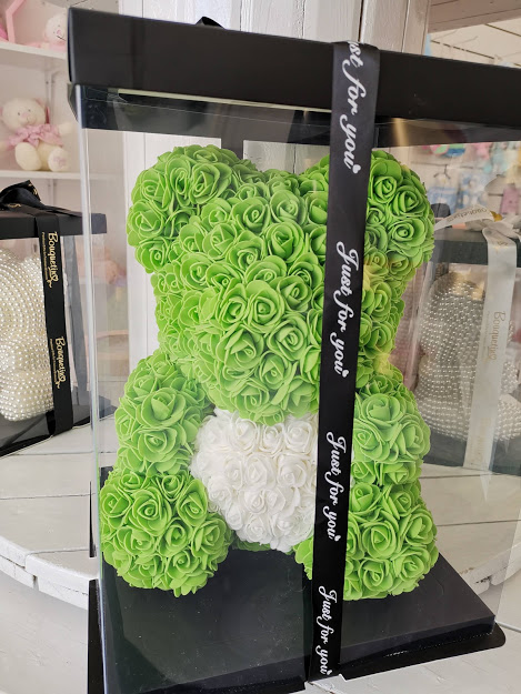 Rose Bear Big 42cm With Heart - Green