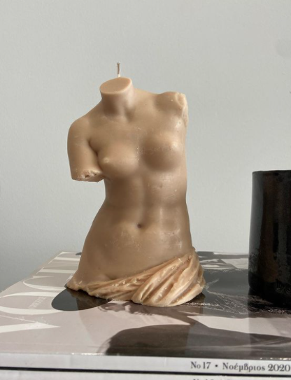 female figure body candle 0.1 in Beige - 17cm H