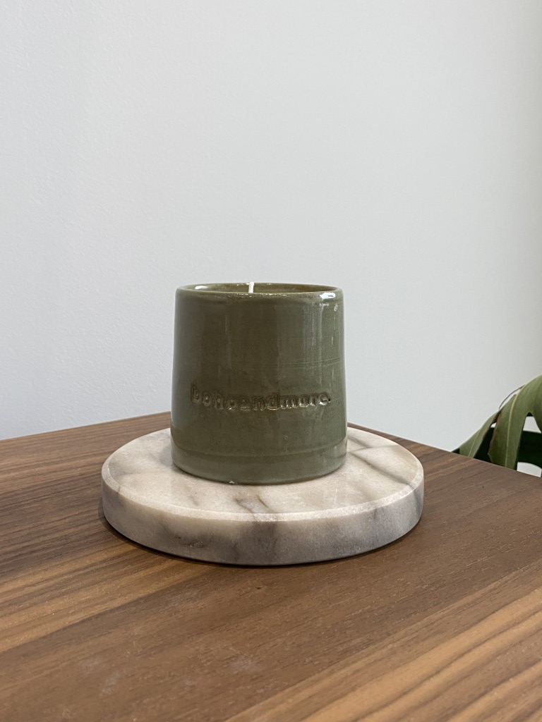 ceramic candle Green - small (7.5cm H X 7.5cm D)
