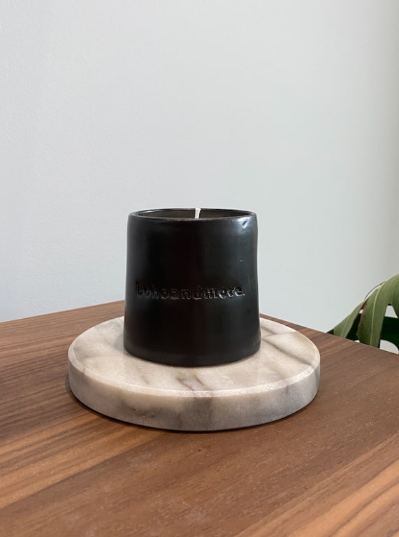 ceramic candle Black - small (7.5cm H X 7.5cm D)