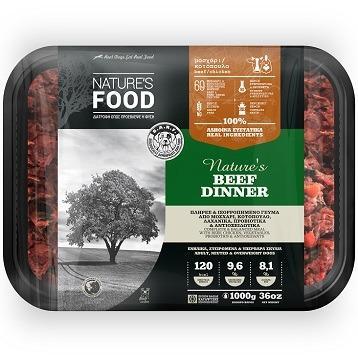 FROZEN BULK NATURE'S BEEF DINNER Dog food - 1kg