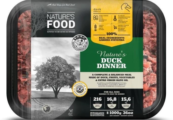 FROZEN BULK NATURE'S DUCK DINNER Dog food - 1kg