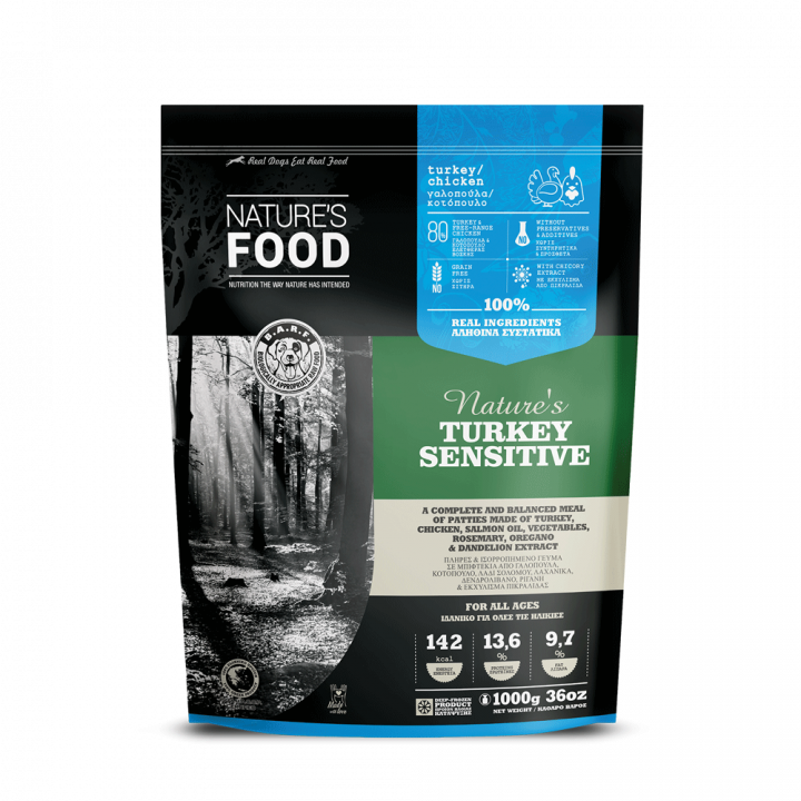 FROZEN PATTIES NATURE'S TURKEY SENSITIVE Dog food - 1kg