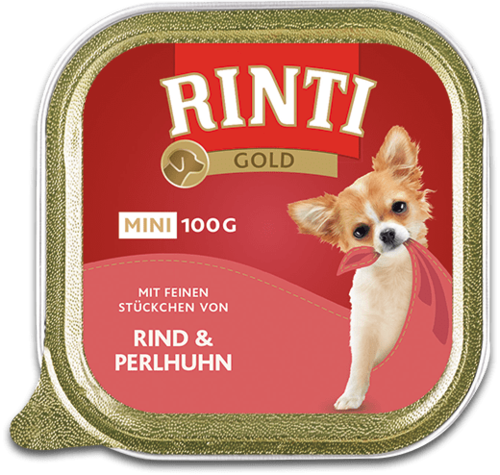 Rinti Gold mini beef & guinea fowl Shell Dog food - 100g