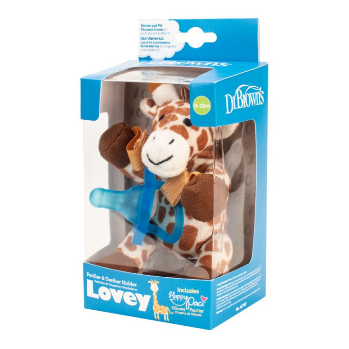 Dr. Brown's Lovey Pacifier and Teether Holder, 0 Months Plus, Giraffe