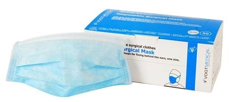 ELASTICATED 3PLY FACE MASK 50 PACK 17.5X9.5CM