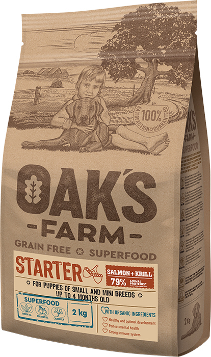 OAK'S FARM STARTER Dog Food with SALMON AND KRILL 2KG