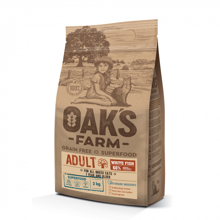 OAK'S FARM ADULT Dog Food - WHITE FISH 2KG