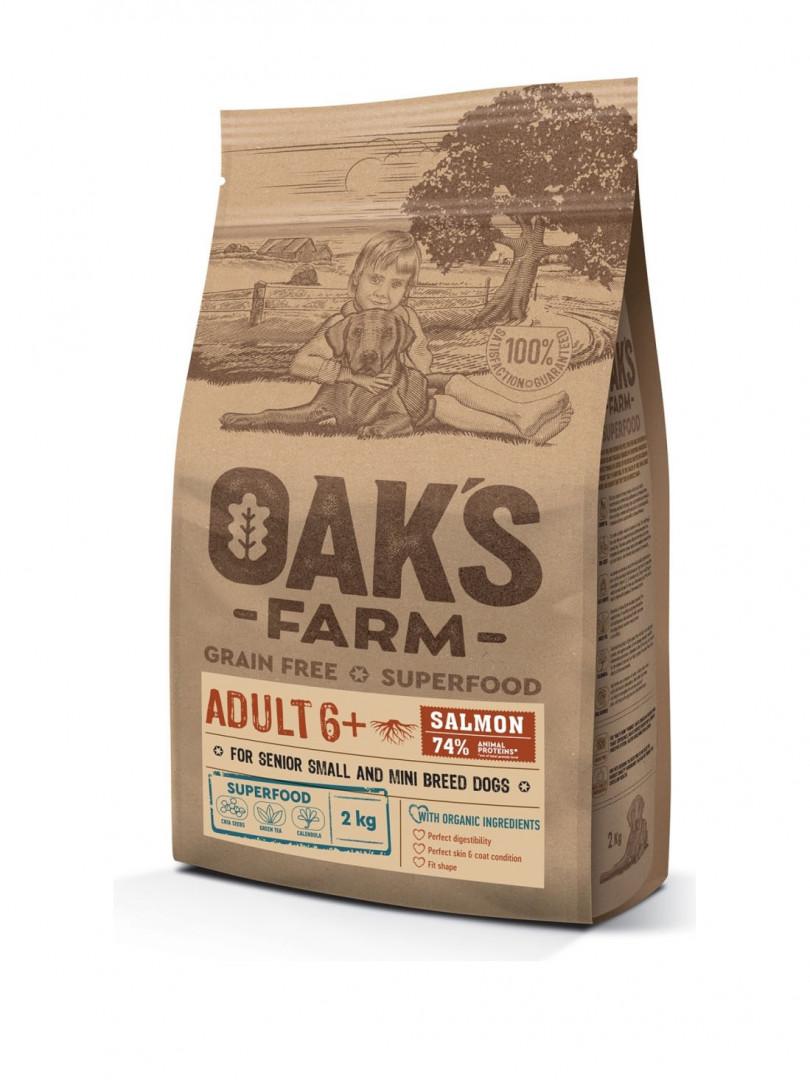 OAK'S FARM ADULT Dog Food 6+ with SALMON 2KG