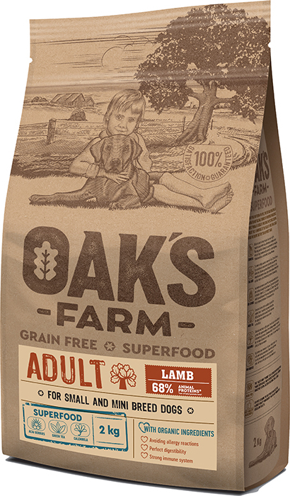 OAK'S FARM ADULT Dog Food with LAMB 2KG