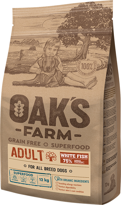OAK'S FARM ADULT Dog Food with WHITE FISH 12KG