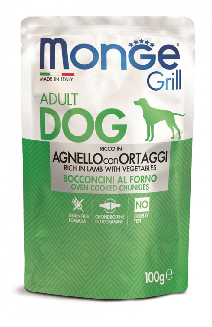 Monge grill adult dog Food with lamb with vegetables 100g