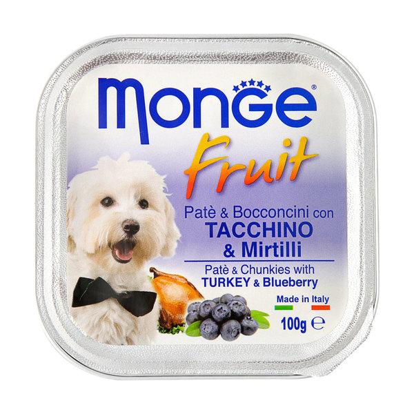Monge Fruit Dog Wet Food Turkey and Blueberry 100g