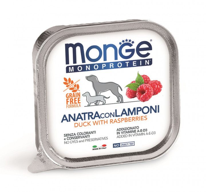 MONGE Monoprotein Dog Wet Food with Duck and Raspberries 150g