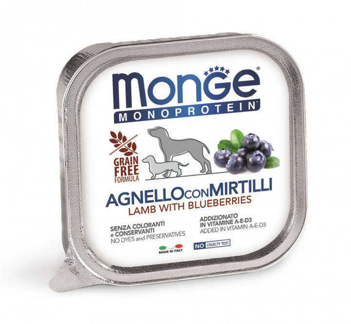 MONGE Monoprotein Dog Wet Food with Lamp and Blueberries 150g