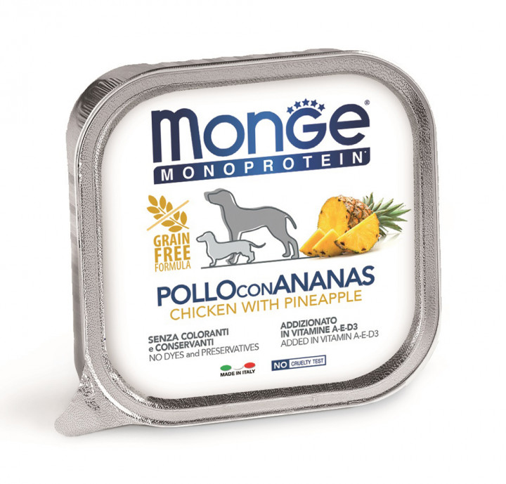 MONGE Monoprotein Dog Wet Food with Chicken and pineapple 150g