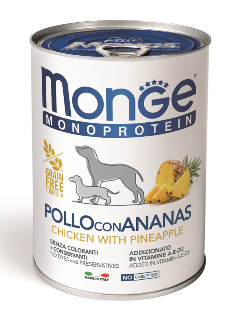 MONGE Monoprotein Dog Wet Food with Chicken and pineapple 400g