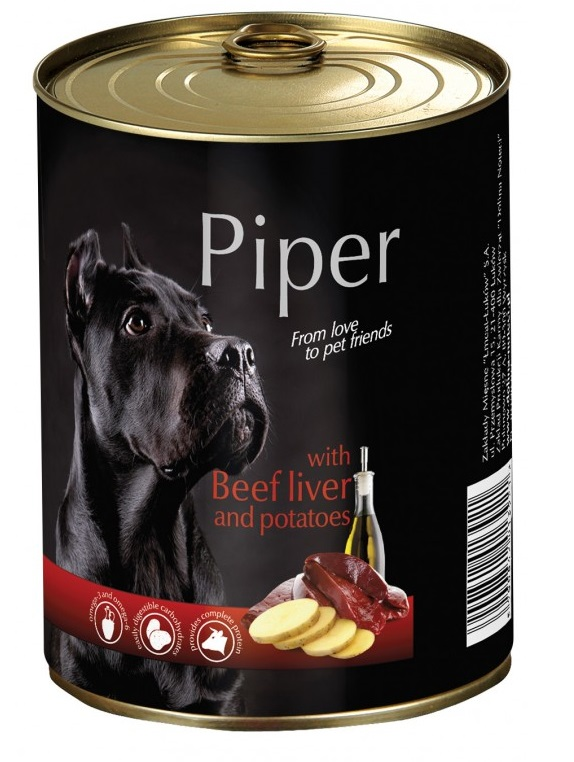 Piper animals Wet Dog Food with beef liver and potatoes 400g