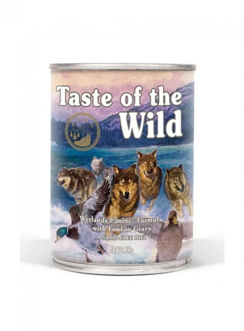 Taste of the Wild Dog Food Wetlands Canine Formula with fowl in gravy 390g