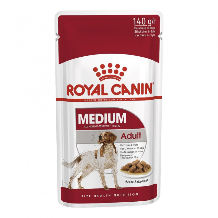 Royal Canin Dog Medium Adult Pouch with gravy salsa 140g