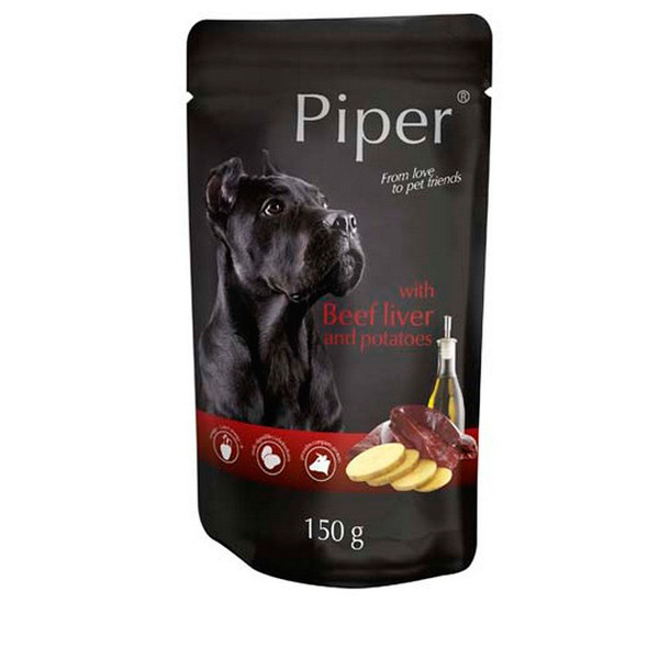 Piper animals Wet Dog Food with beef liver and potatoes 150g