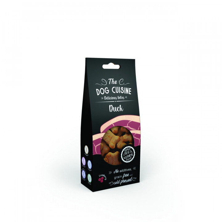 The dog cuisine delicious bites with duck and Cranberry 100gr