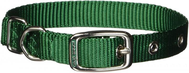 "Hamilton comfort dog collar Single Thick DARK GREEN - 5/8"" 14CM"