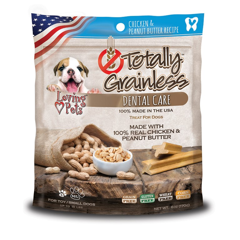 Loving Pets Totally Grainless Dental Care Dog Chews with Chicken and Peanut Butter 170g