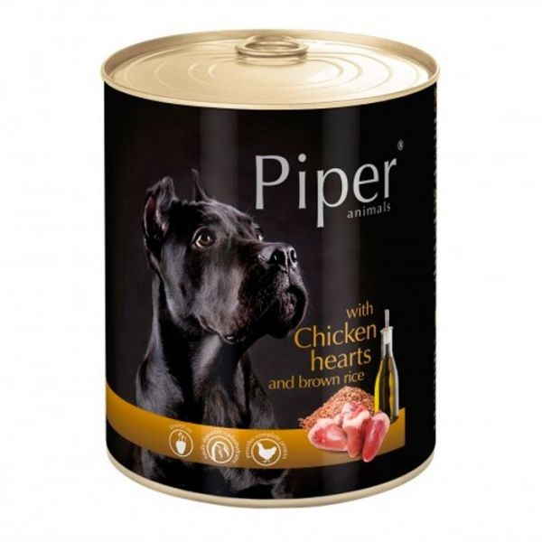 Piper animals Wet Dog Food with chicken hearts and brown rice 400g
