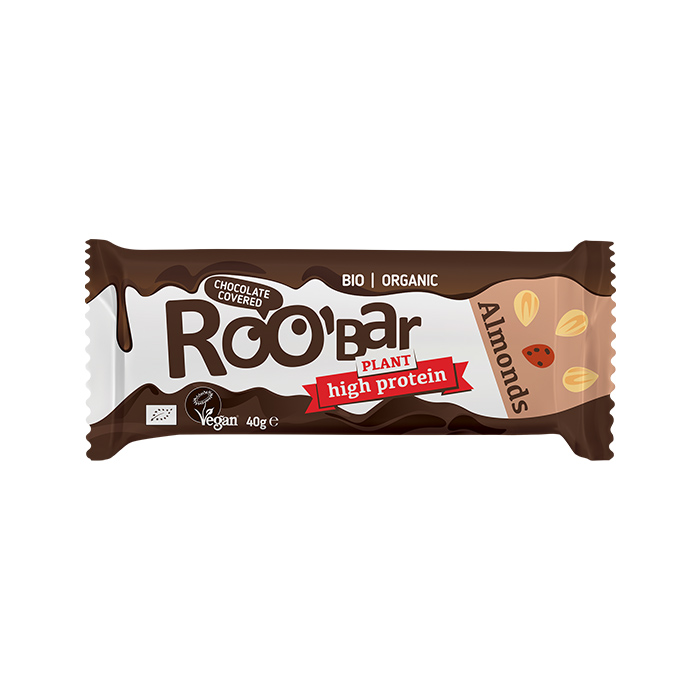 Roobar Almond & Protein bar covered with chocolate 40gr