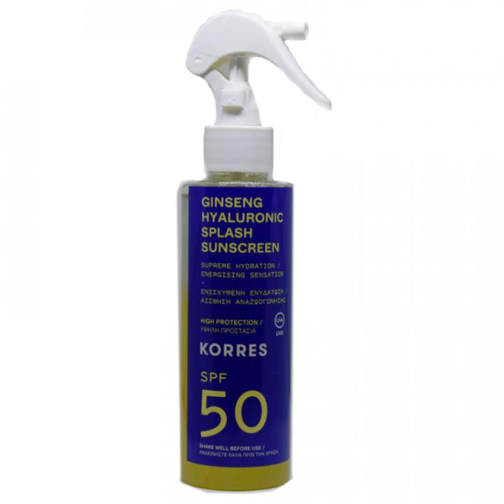 Korres ginseng hyaluronic splash spf50 sunscreen 150ml
