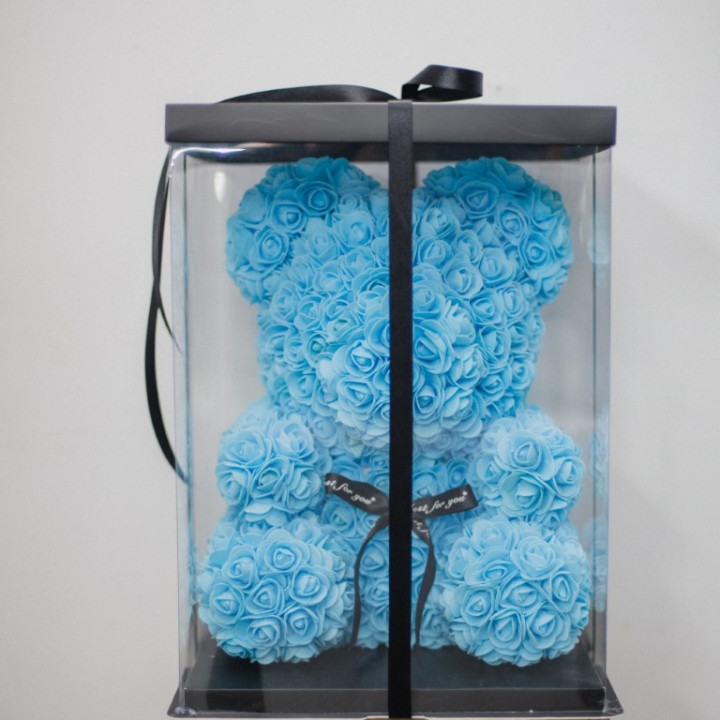 Blue Rose Teddy Bear
