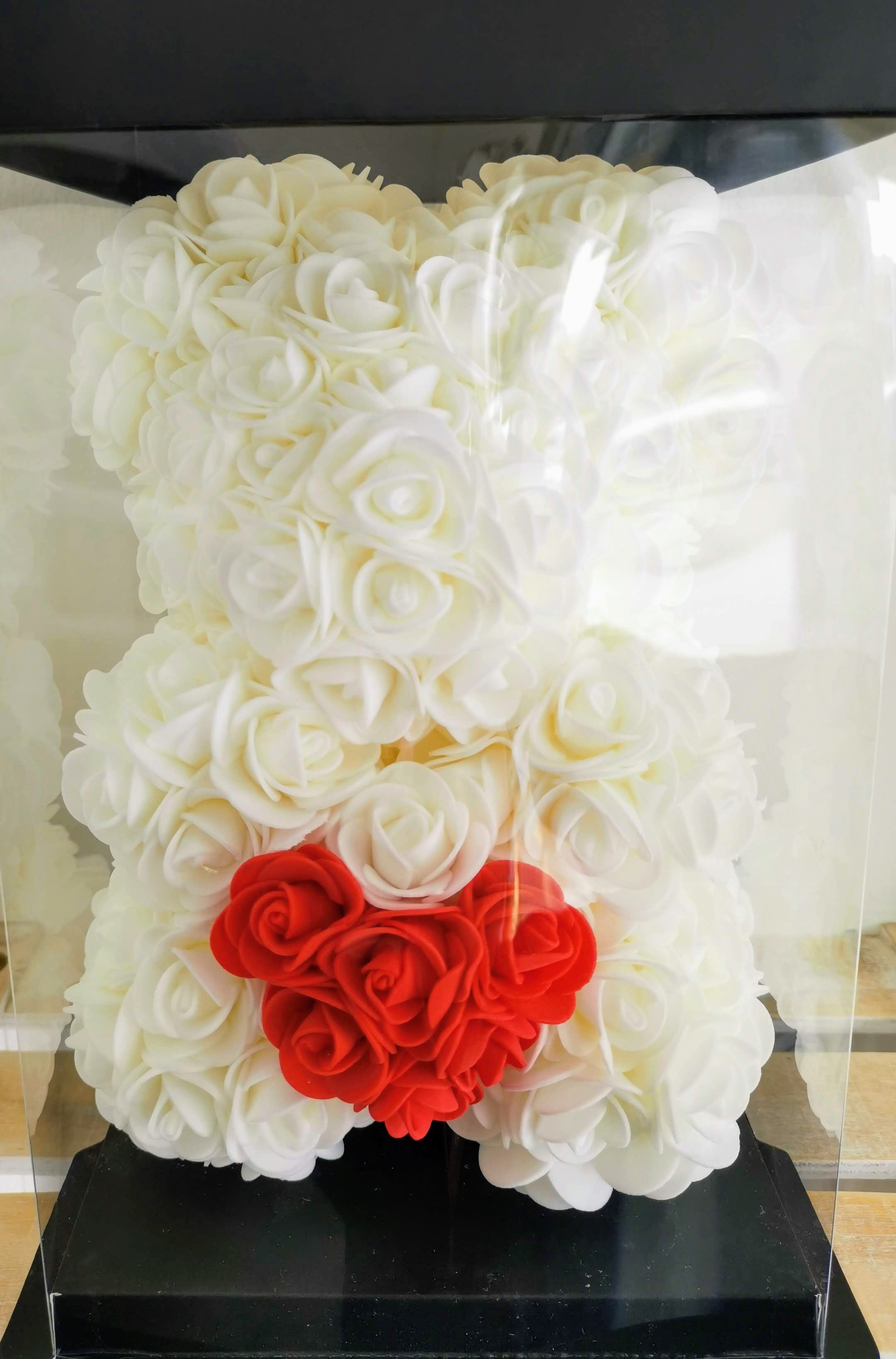 Rose Bear 28cm With Heart - White