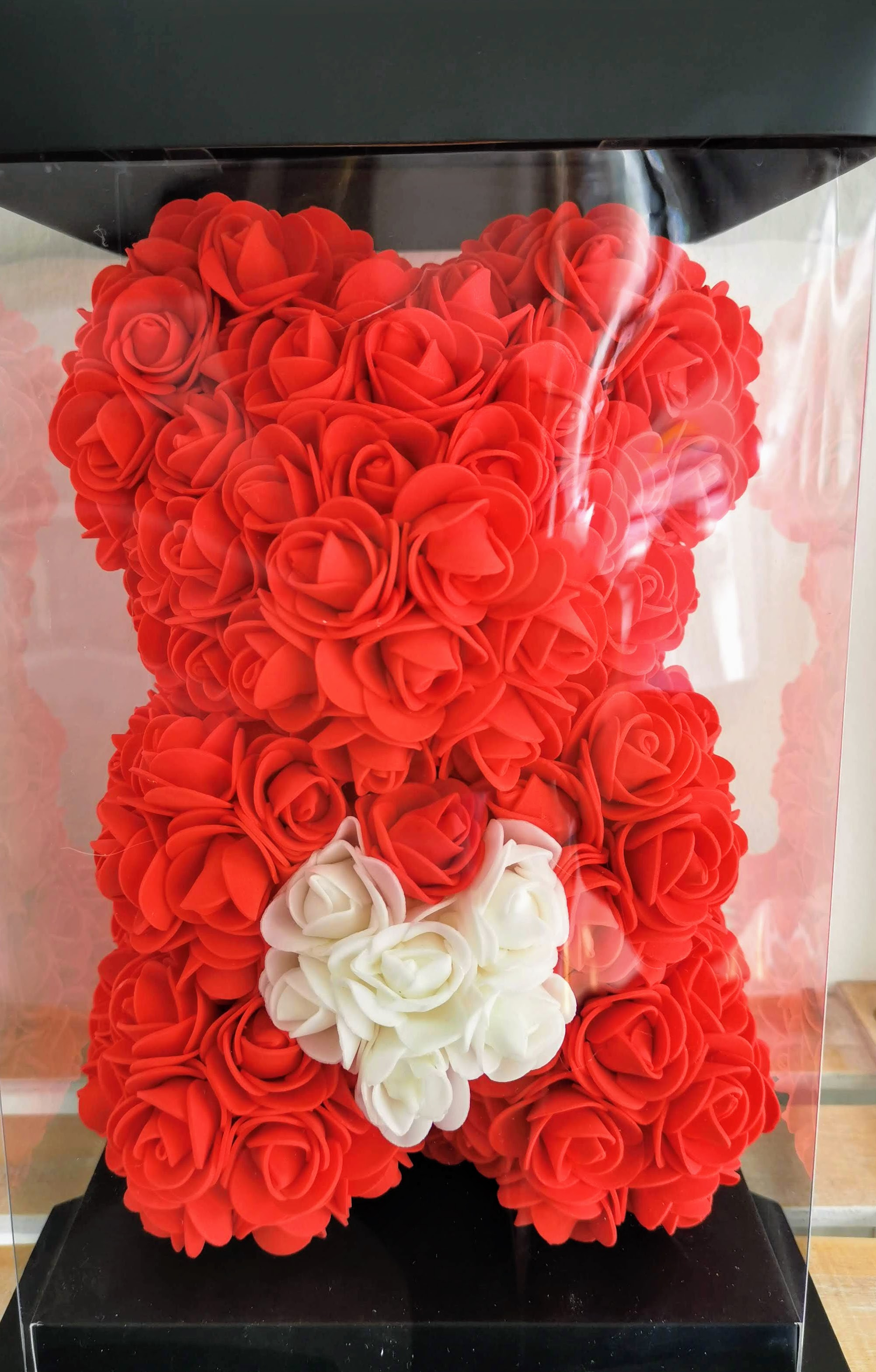 Rose Bear 28cm With Heart - Red
