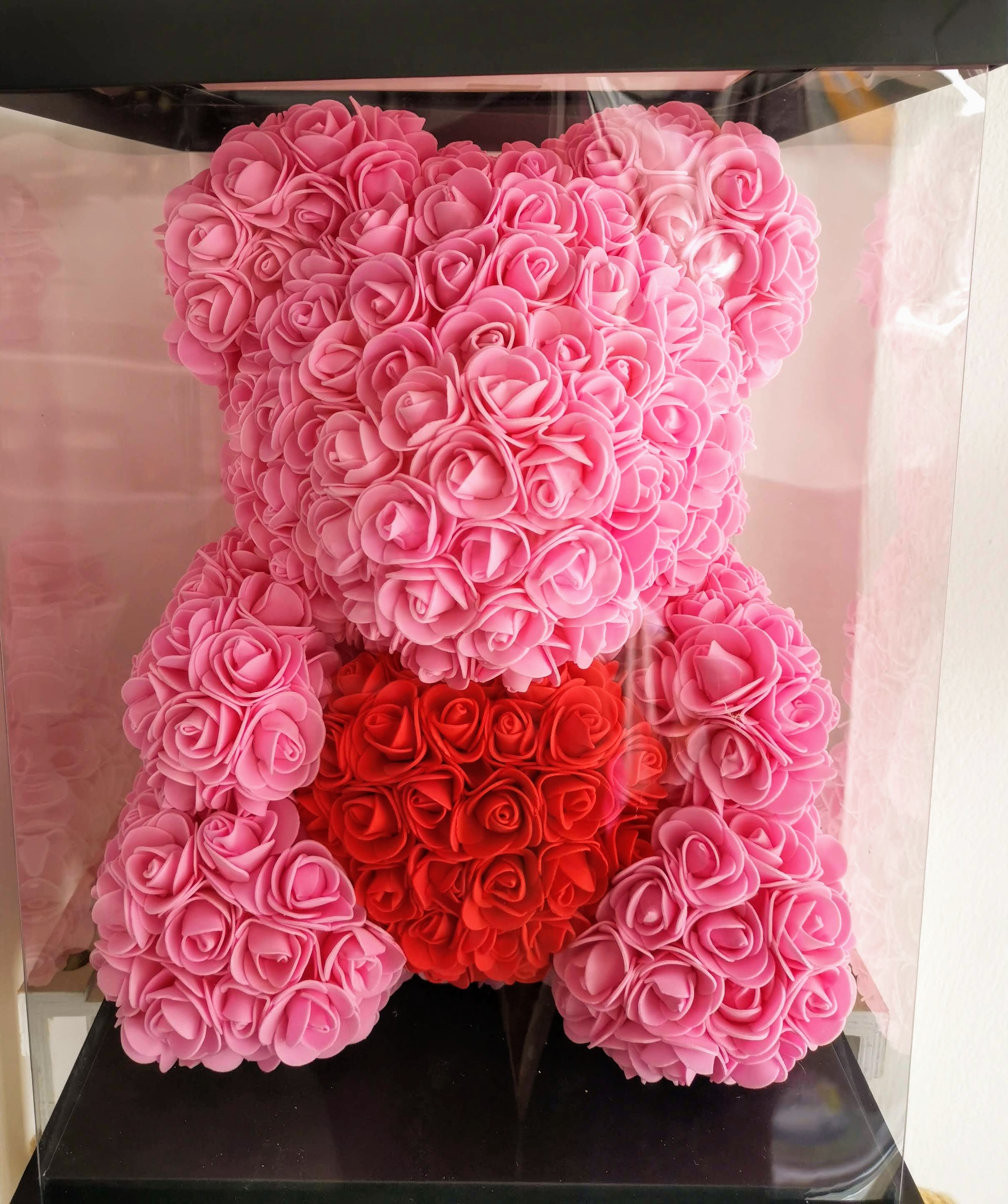 Rose Bear Big 42cm With Heart - Pink