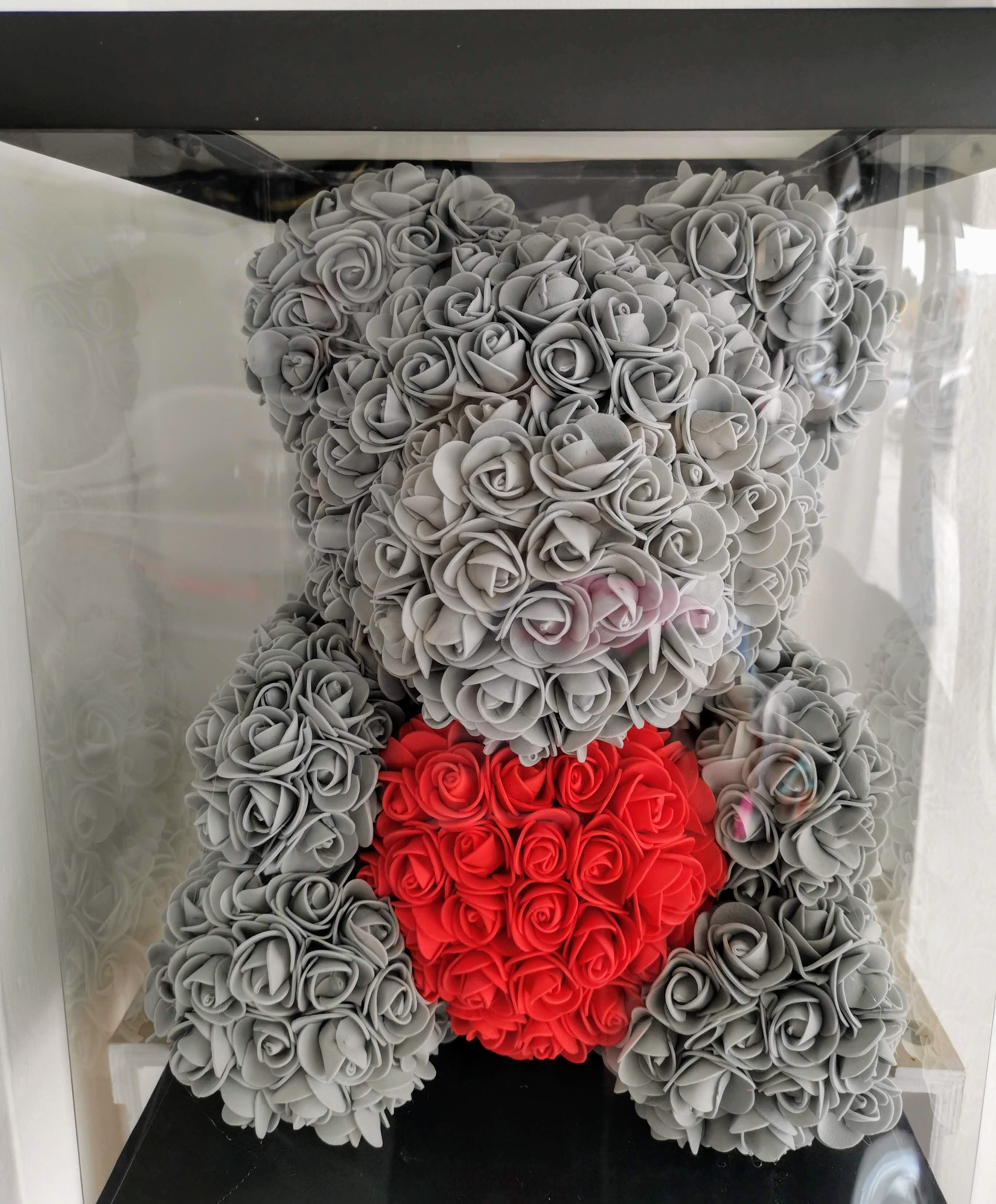 Rose Bear Big 42cm With Heart - Grey