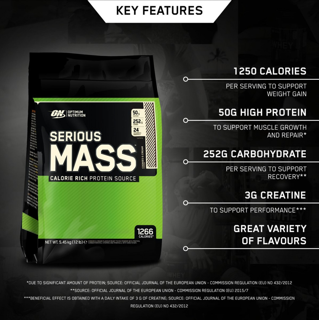 ON OPTIMUM NUTRITION SERIOUS MASS - COOKIES AND CREAM 5.450KG