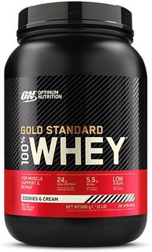 ON OPTIMUM NUTRITION GOLD STANDARD WHEY - COOKIES AND CREAM 896G