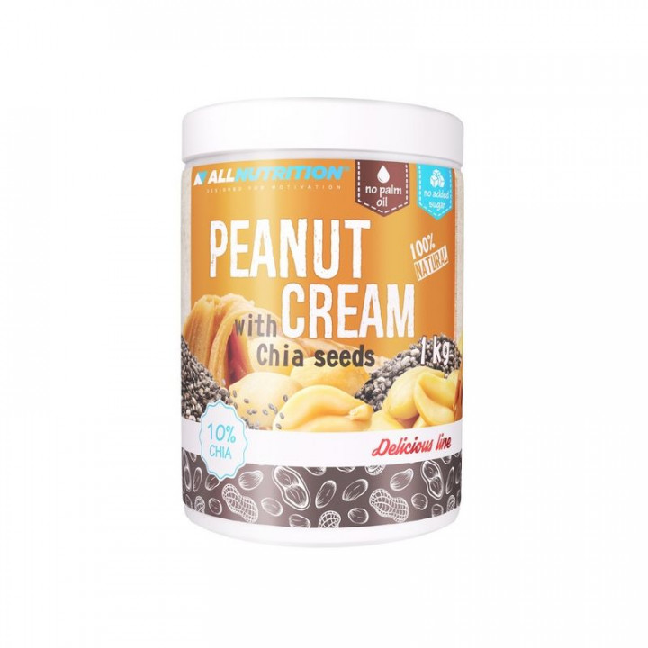 ALL NUTRITION 100% NATURAL PEANUT CREAM WITH CHIA SEEDS - 1KG