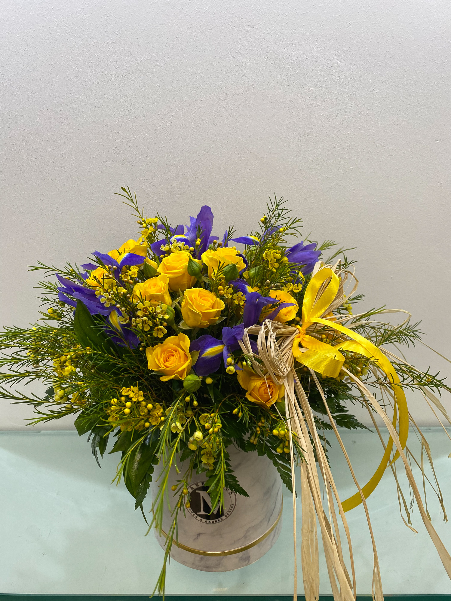 Boxes with mixed fresh flowers