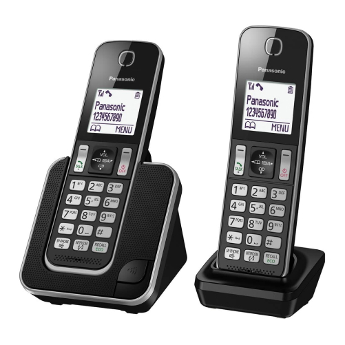 Panasonic KX-TGD312EB Cordless Phone with Nuisance Call Blocker and LCD Display (2 Devices)