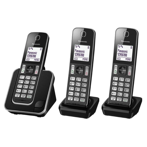Panasonic KX-TGD313EB Cordless Home Phone with Nuisance Call Blocker and LCD Display Pack of 3)