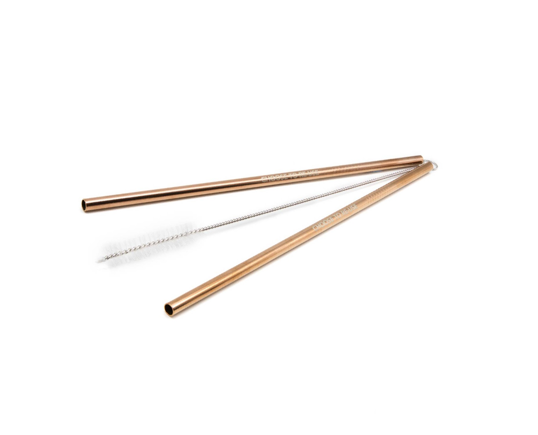 Ecoffee Reusable stainless steel Straws & Cleaner - Rose Gold