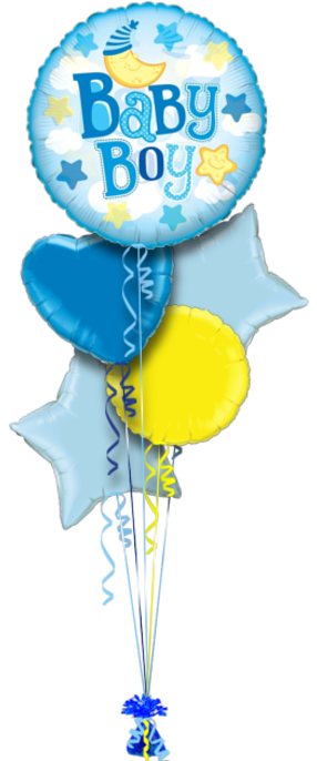 Baby Boy Balloons Bouquet Small