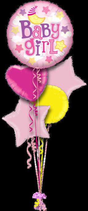 Baby Girl Balloons Bouquet 5 Foil Balloons