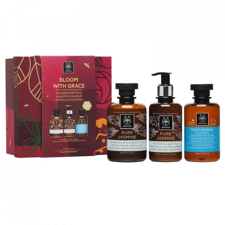Apivita Set Bloom With Grace Pure Jasmine Shower Gel 300ml + Pure Jasmine Body Milk 200ml + Gift Moisturizing Shampoo Hyaluronic Acid & Aloe 250ml